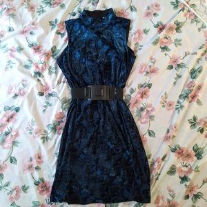 NWOT Blue Velvet High Neck Sleeveless Dress